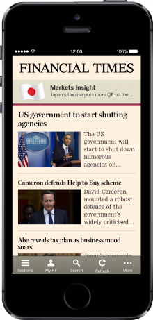 Webapp iPhone5S 220x461 Financial Times revamps its Web app for iPhone, iPad and Windows 8 devices