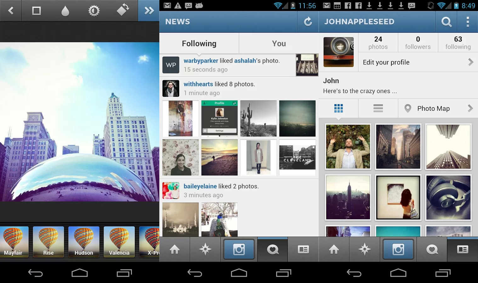Instagram writing apps for android