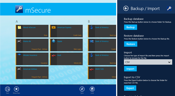 mSecure Win8 10 of the best multi platform password managers for iOS, Android and the desktop