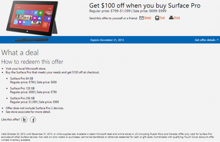 surface pro 100 730x471 Microsoft slashes Surface Pros price by another $100: 64GB for $699, 128GB for $799, and 256GB for $999