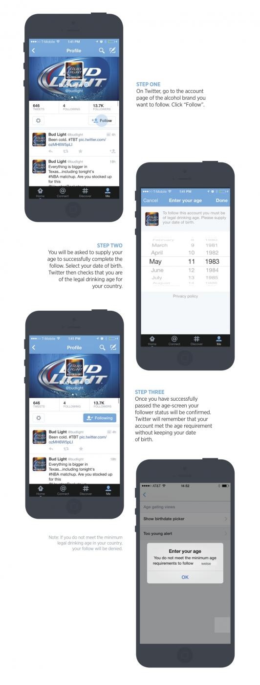 Twitter integrates age-screening for following alcohol brands on Web, Android, and iOS