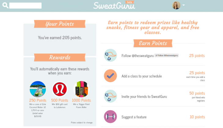 SweatGuru rewards 730x419 SweatGuru: An easy way to search, book and list fitness classes online