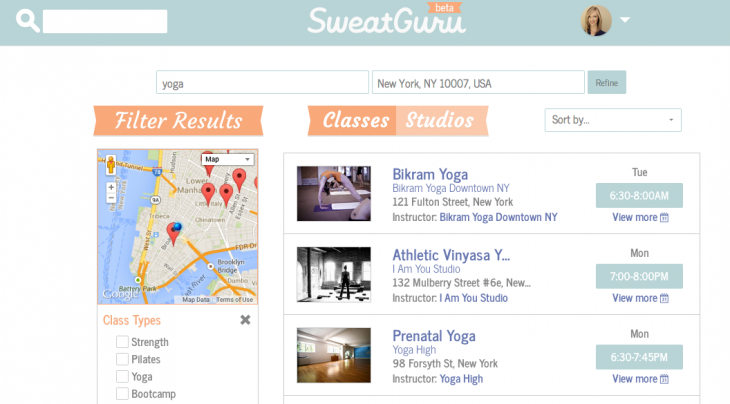 SweatGuru search results 730x404 SweatGuru: An easy way to search, book and list fitness classes online