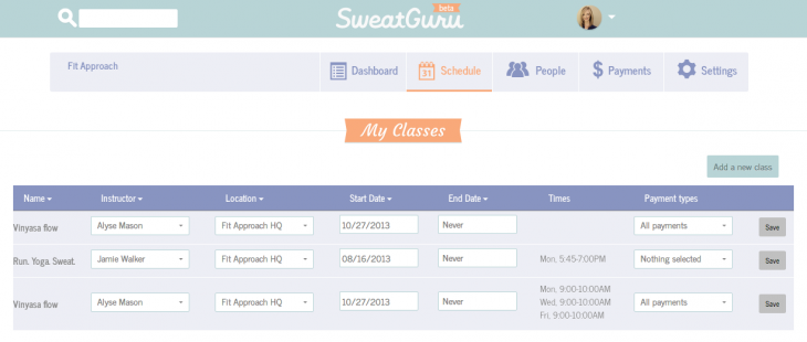 SweatGuru studio dashboard schedule 730x310 SweatGuru: An easy way to search, book and list fitness classes online