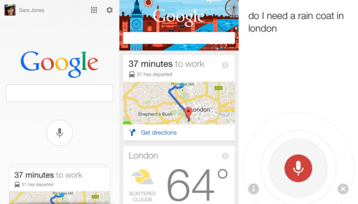 google search ios 730x416 Google Now for iOS gets notifications, reminders, new cards, handsfree voice controls, and more
