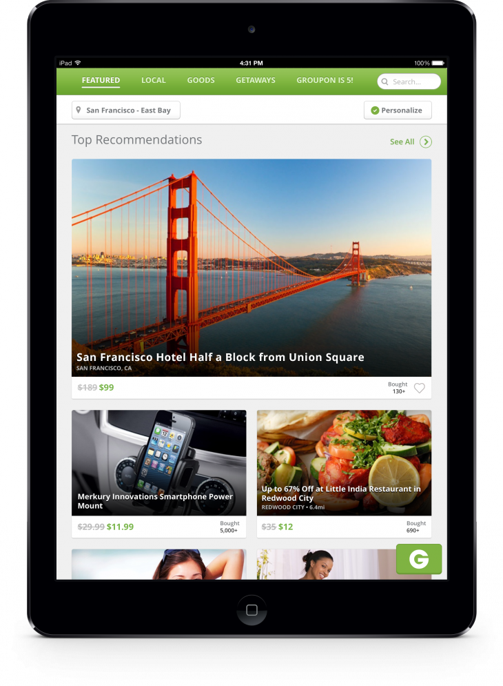 iPad 2.0 Featured Page 730x994 Groupon revamps its website and updates its mobile apps with new search and browse features