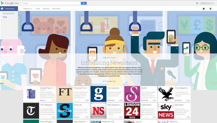 newsstand google 730x415 Google launches its own Newsstand for Android, replacing Play Magazines and Currents