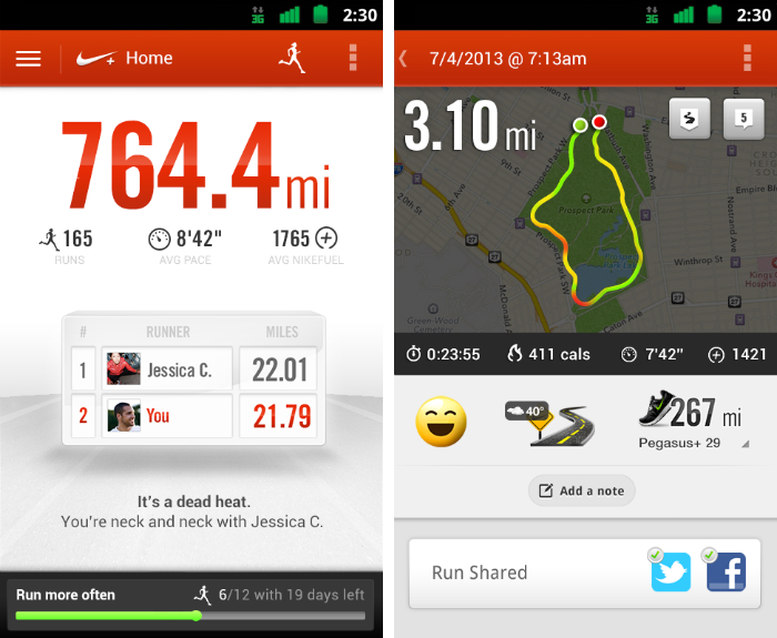 nikerunning1 30 of the most beautiful and well designed Android apps