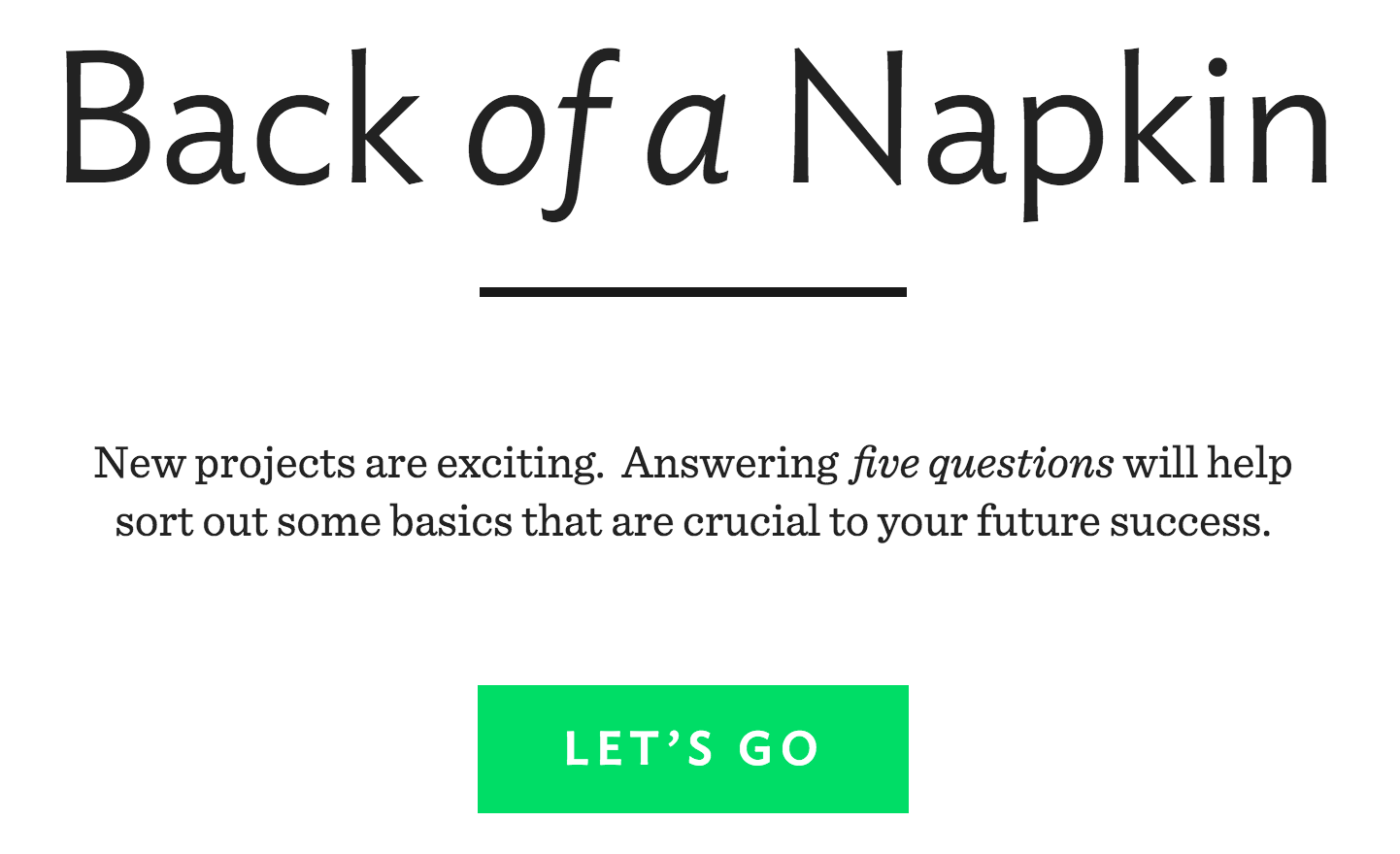 Back of a Napkin aims to get the specifics of building a startup out of the way