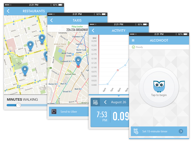 app screens Alcohoot: A breathalyzer smartphone accessory that just might change the world