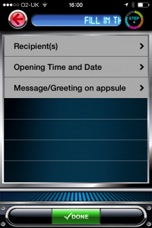 f1 220x330 TimeAppsule for iPhone lets you send time locked videos, photos and invitations to friends