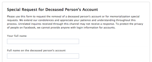 facebook deceased form 520x214 How to delete and protect the digital identities of the deceased