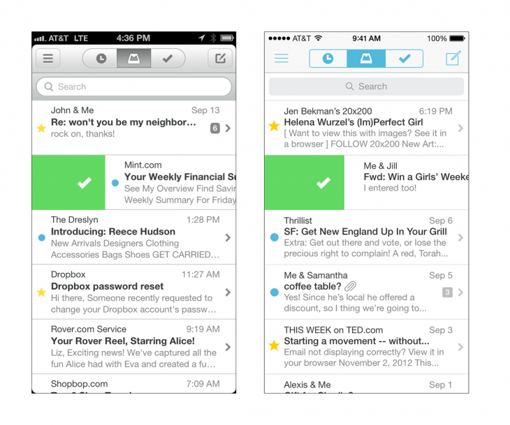 iOS6 vs iOS7 730x609 Dropbox owned Mailbox adds support for Yahoo Mail and iCloud accounts to its email client