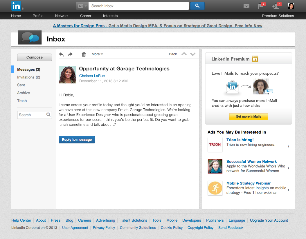 linkedin inbox details view LinkedIn redesigns the inbox with larger pictures, centralized navigation, and message previews