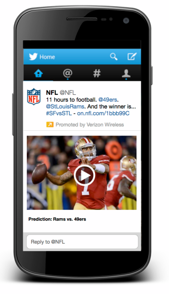 nfl twitter mock phone tweet verizon wireless1 Twitter in 2013: IPO, acquisitions and experiments