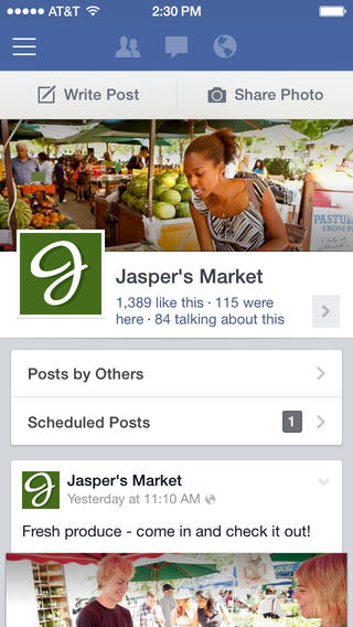 Facebook Pages Manager gets iOS 7 redesign, now allows tagging in posts and comments