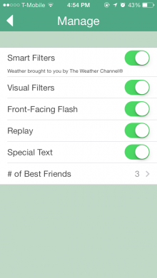 snapchat 220x390 Snapchat for iOS gets a replay option, front camera flash, filters and up to 7 best friends