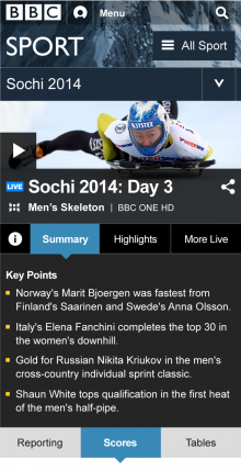 BBC Live Sport Winters Mobile 220x429 The BBC plans for a digital Winter Olympics: 6 HD streams and 650 hours of live action