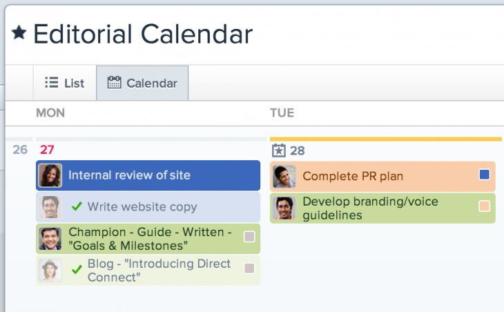 Calendars in Asana 2 customized view 730x452 Asana introduces Calendars, a visual way for teams to better understand project deadlines and tasks