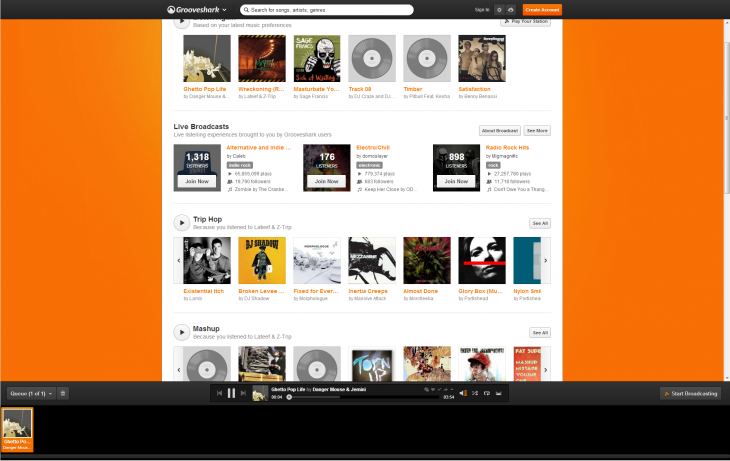 Grooveshark 730x461 15 of the best music streaming platforms online today. Which one is best for you?
