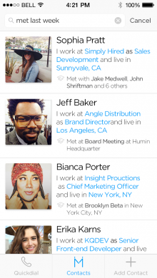 HUMIN search 220x390 Humin is a startup to watch with a smart, more human, way to manage your network of contacts