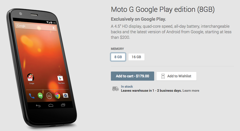 Screen Shot 2014 01 14 at 11.17.43 AM Moto G Google Play Edition now available in the US: 8GB for $179 and 16GB for $199