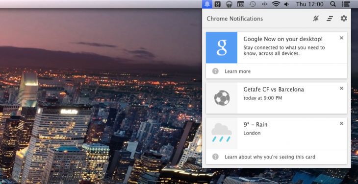 Screen Shot 2014 01 16 at 12.00.15 730x376 Google Now arrives in Chrome Canary with weather, sports scores, traffic and event reminder cards