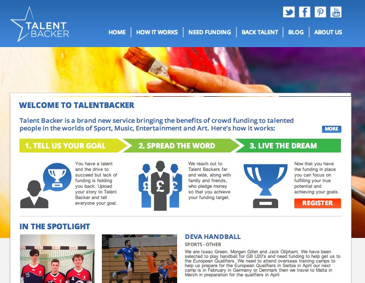 Talentbacker screenshot Talent Backer: A UK crowdfunding platform for your artistic, musical or sporting skills