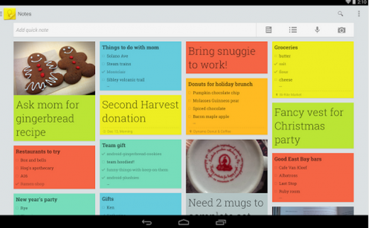 googlekeep 520x321 20 of the best productivity apps of 2013