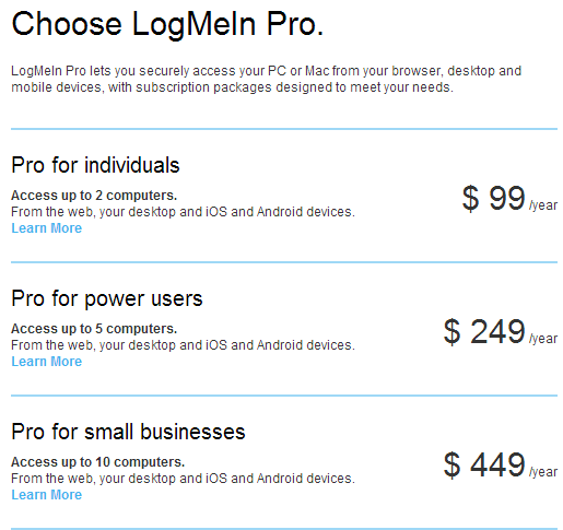 logmeinpro pricing LogMeIn discontinues its free remote access product, gives users 7 day grace period to upgrade