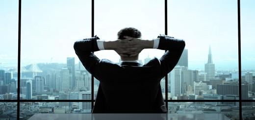 man alone in office