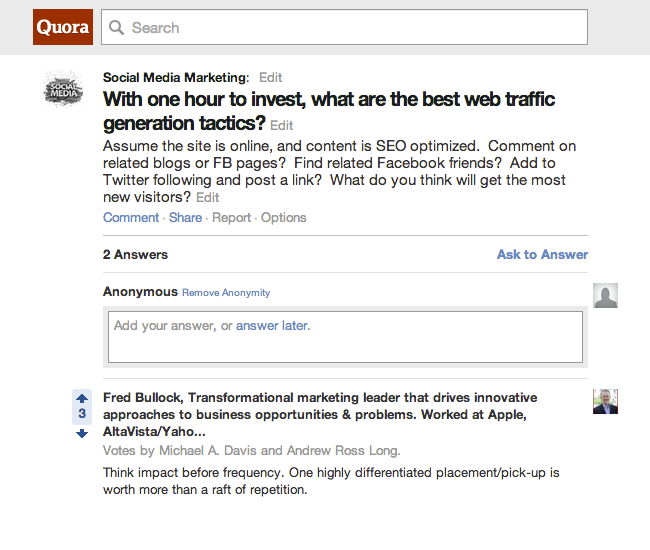 screenshot Quora How marketers can build thought leadership