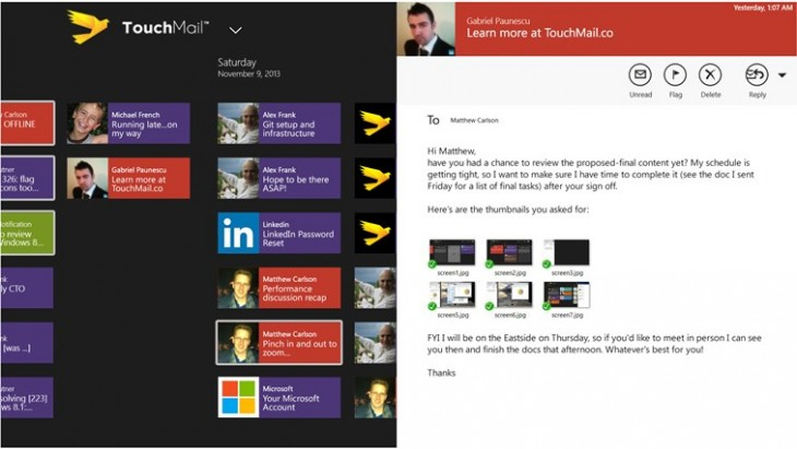 touchmail 3 730x411 TouchMail launches its innovative email client for Windows 8, but its not finished yet