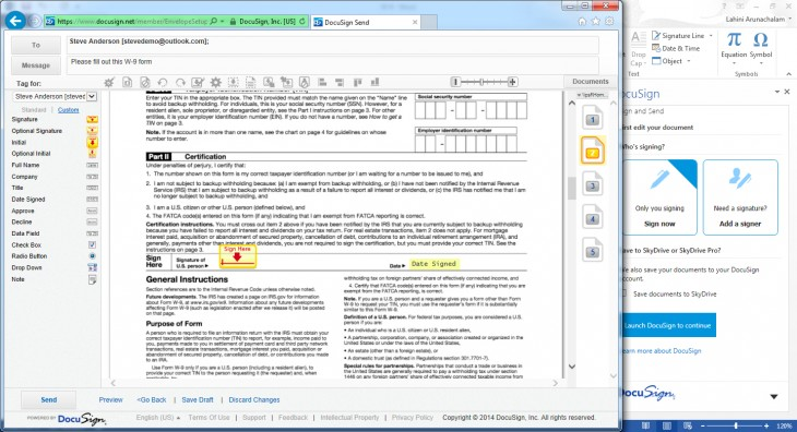 Docusign 730x396 Microsoft taps DocuSign to let you digitally sign and send documents in Office 365