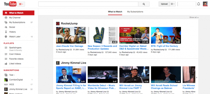 Screen Shot 2014 02 18 at 5.08.40 PM 730x329 YouTube begins rolling out a new, cleaner user interface as it makes finding playlists easier