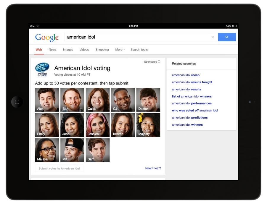 Screen Shot 2014 02 25 at 1.49.34 PM Google Search now lets you vote for American Idol, Facebook will offer real time voting progress updates