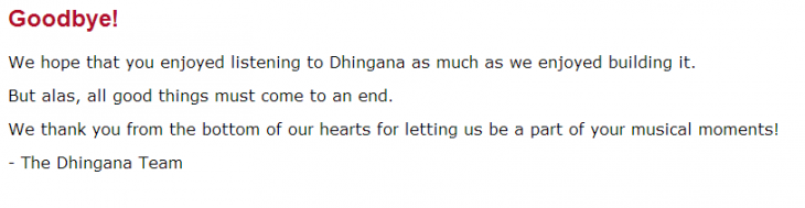 dhinghana 730x189 Indian music service Dhingana shuts down 2 months after losing its biggest label