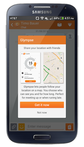 glympse ChatOn, Samsungs own messaging app, now includes Glympse powered location sharing