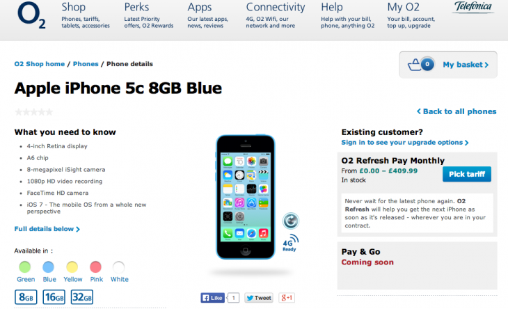 Screen shot 2014 03 18 at PM 03.56.14 730x444 Its official: Apple releases 8GB version of its iPhone 5c, brings back the fourth generation iPad
