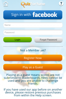 a 220x330 QuizFortune for iPhone brings individual gameplay to the social trivia app mix