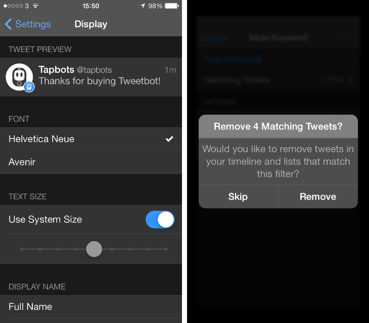 tweetbot1 Tweetbot for iPhone updated with Avenir font, new options for image thumbnails and mute filters