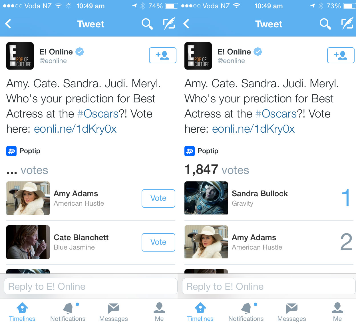 New Twitter card lets you vote for your Oscar favorites