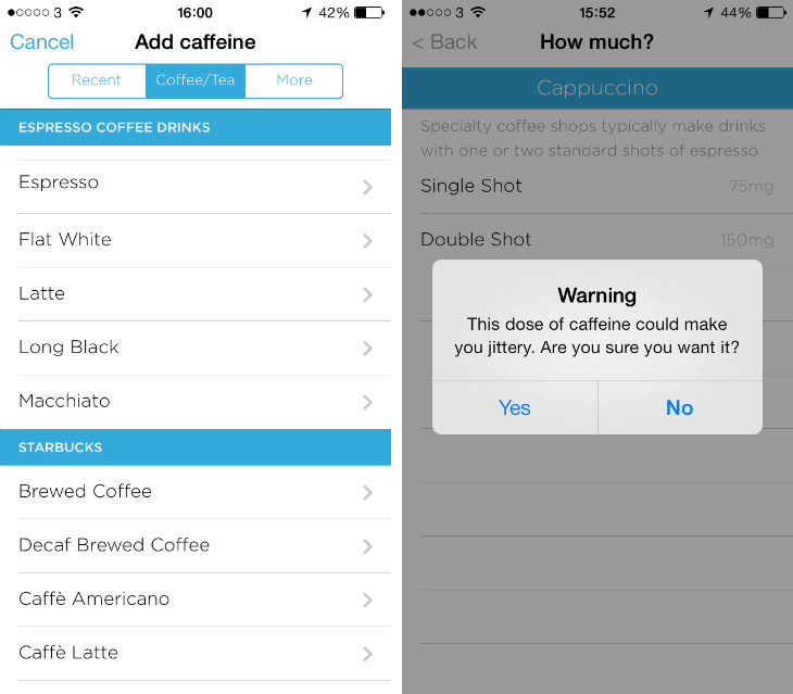 upcoffee4 Drink too much coffee? Jawbones new iOS app will tell you when to stop
