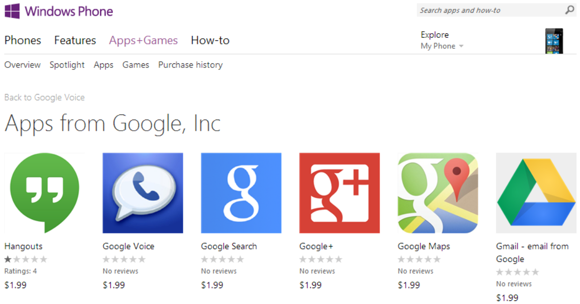 wp google 6 Microsoft pulls fake Google apps from the Windows Phone Store, but doesnt fix larger approval process problem
