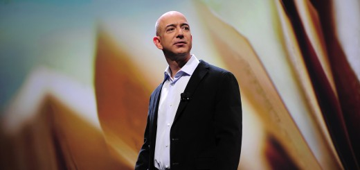 Amazon CEO Jeff Bezos addresses a press