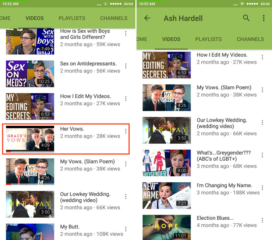 YouTuber Ash Hardell's video 'Her Vows' can be viewed normally on YouTube, but not in Restricted Mode (right)