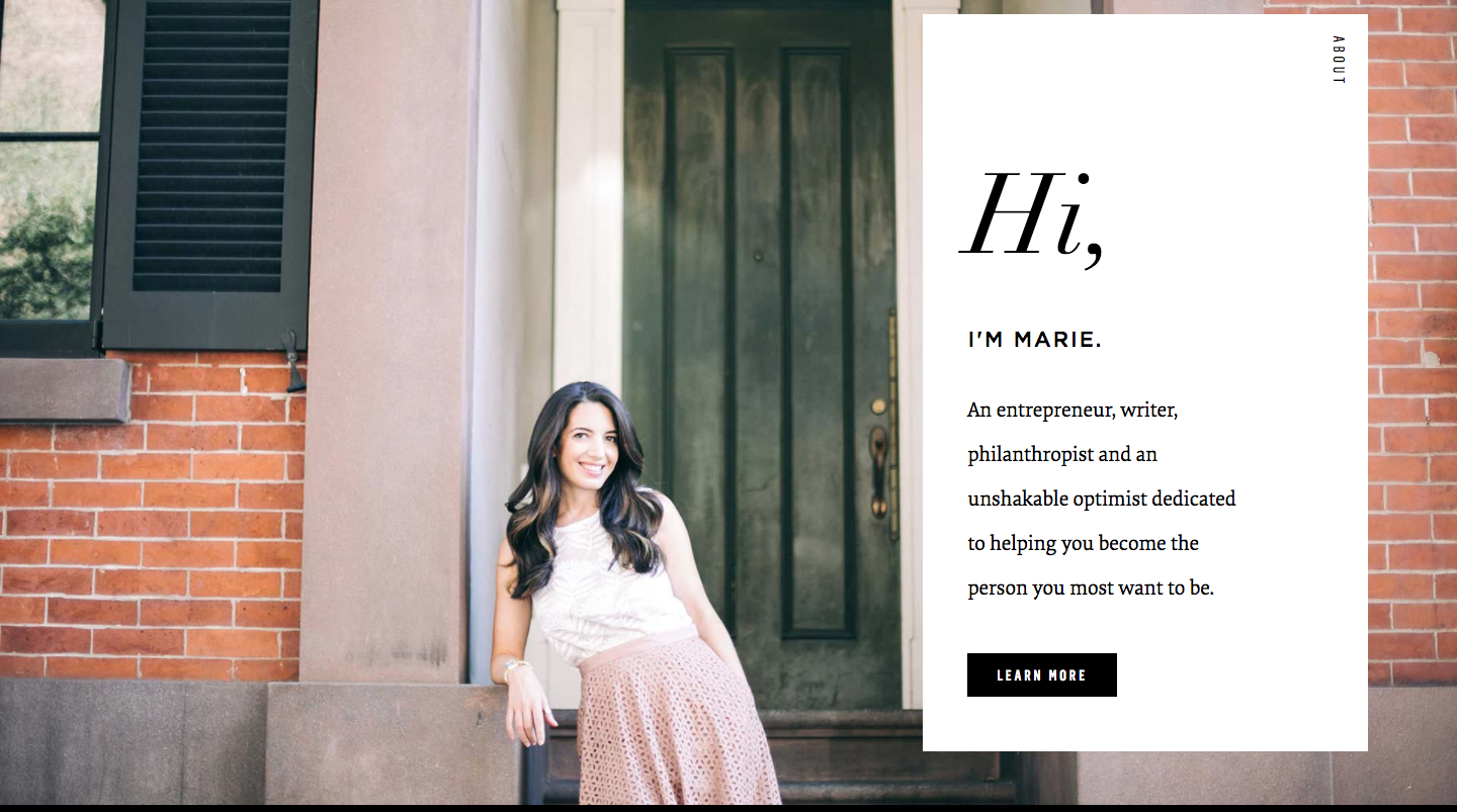Marie Forleo's personal website is an excellent example of how to use high-quality imagery to make a strong positive impact.