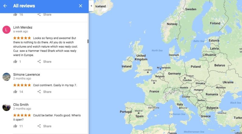 Google maps lets people review continents guess what happened credit google maps gumiabroncs Gallery